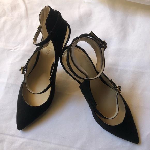 3e9ff0ad4d5 Marc Fisher Black Suede Strappy Heels Womens 8. M 5b8b1756b6a942e75d4c1b9c